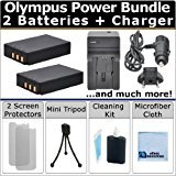 2 BLS-1 Batteries and AC/DC Charger for Home and Car with Travel Adapter Plug and eCostConnection Complete Deluxe Starter Kit for Olympus E-P3 E-PM1 E-PL1 E-PL2 E-PL3 E-PL5 Digital Camera BLS1