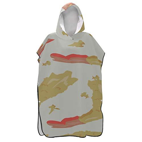 Rtosd Asciugamano da Donna Kawaii Japan Tempura Shrimp con Cappuccio Poncho Surf Asciugamano Asciugamano Poncho Asciugamano Nuoto Nuoto Bagno Taglia Unica