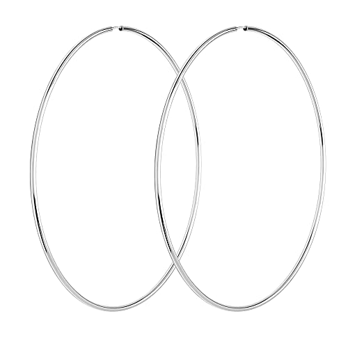 NKlaus Par de pendientes de aro de 10 cm de plata de ley 925, pendientes grandes con cierre flexible 3075