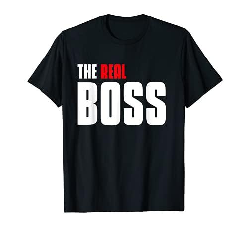 El verdadero jefe padre e hijo a juego traje de pareja Camiseta