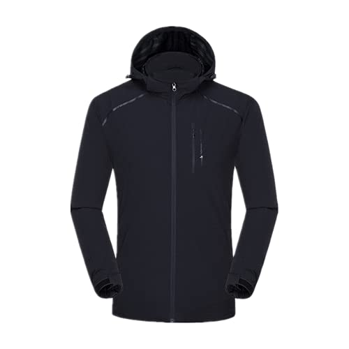 De secado rápido de fútbol a prueba de lluvia chaqueta de invierno chaquetas de fútbol para hombre, Negro, XL