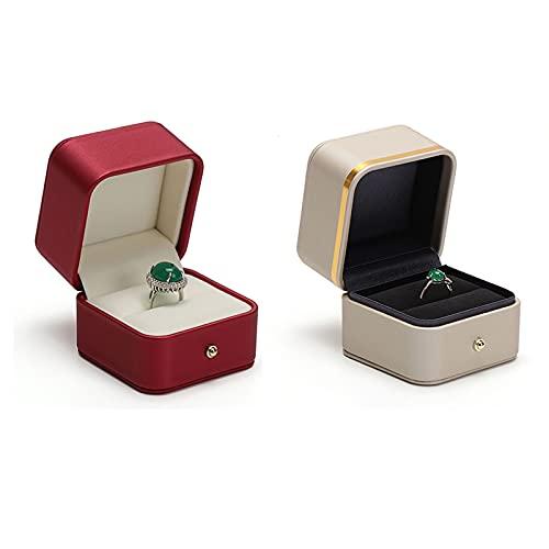 Caja de joyería Caja de cuero PU, joyas de terciopelo para propuesta de compromiso, regalo de boda-joyería de almacenamiento de caja de almacenamiento Pendientes de anillo de joyería Compartidos de jo