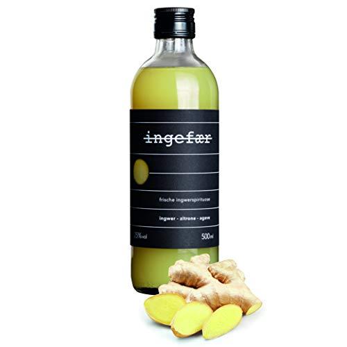 Ingefaer Ingwer Schnaps 25% aus destilliertem Ingwer, Zitronensaft mit Agave - Ingwershot, Ingwerlikör Alternative – Handcrafted Heimat Destille (1 x 0,5l)