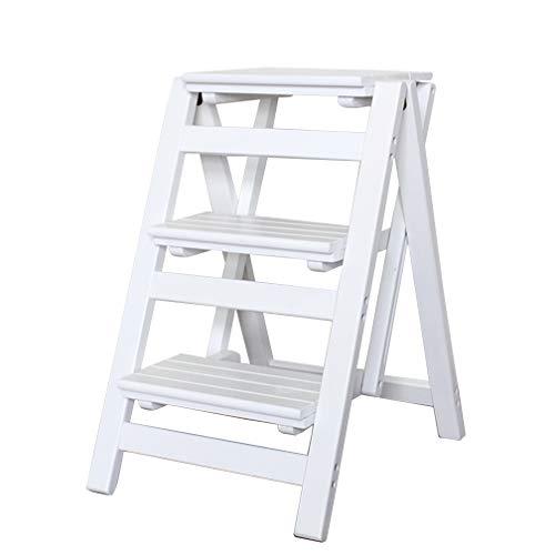 JHome-Klappstufen Klappbare 3 Stufen-Trittleiter-Leiter, Haushalt Treppenstuhl Holz Trittleiter für Kinder & Erwachsene, Hausgartenwerkzeug Schwere Max. 200kg in Weiß