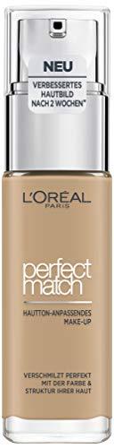 L'Oréal Paris Perfect Match Make-up 3.D/3.W Golden Beige, flüssiges Make-up, für einen natürlichen Teint, mit Hyaluron und Aloe Vera