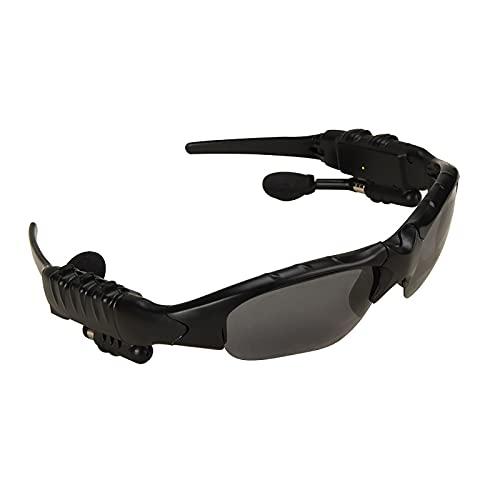 Goodvk Gafas Deportivas Inteligentes Gafas Bluetooth Smart Sports Smart Bluetooth Estéreo Estéreo Gafas De Sol Polarizadas Luz y Portátil (Color : Black, Size : One Size)
