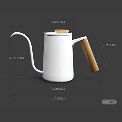 Koffiezetapparaat Karaf Houten handvat 600ml Roestvrij staal Zwanenhals Infuus Koffieketel Barista Koffiepot Lange uitloop Waterkoker Kookplaat Theepot, Wit 600ml