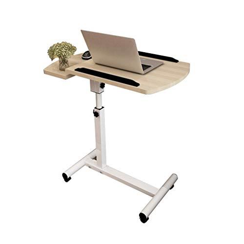 CYLQ Winkel Und Höhenverstellbarem Rolltisch Schreibtisch Laptop Notebookhalterung, Schwenkbarer Tisch Schreibtisch Sofa/Bett Beistelltisch Krankenhaus Tisch, 66.5-96.5cm (Color : Wood Color)