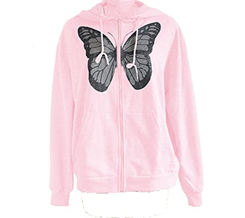 SLYZ Mujeres Primavera Código Europeo Todo-fósforo Chaqueta Casual Mariposa Estampado De Diamantes Calientes Suéter De Manga Larga con Capucha Mujer