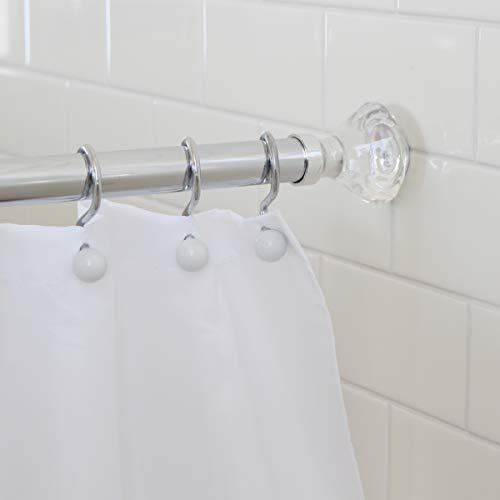 "Splash Home Olena NeverRust Aluminum Constant Tension Bathroom Decorative Shower Curtain Rod, – extendable 42"" -72"" Inches, Chrome"