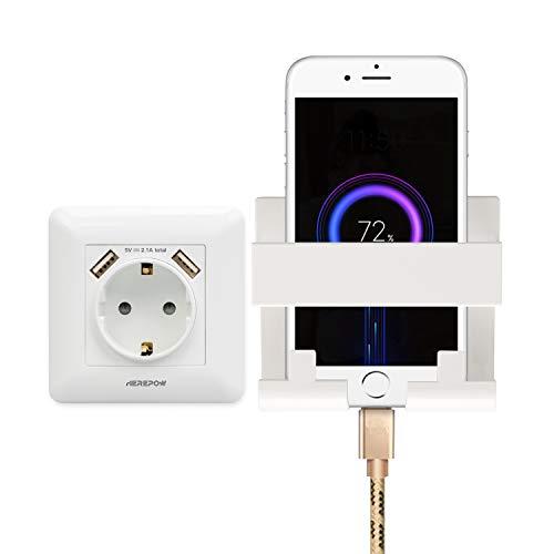 El enchufe tiene dos salidas de interfaz USB, el enchufe de pared y el enchufe integrado se utilizan en el hogar, la oficina y otras escenas (con soporte para teléfono móvil) (Blanco 1)
