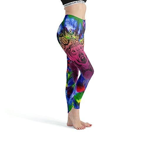 Ouniaodao Leggings delgados para mujer, Wolf Pink Art Leggings - Leggings para mujer Sport Gym Design blanco M
