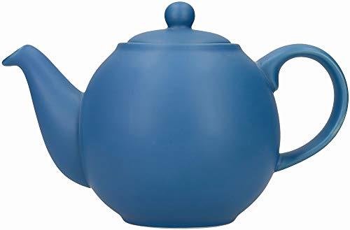 London Pottery Globe - Tetera pequeña con colador en caja de regalo, cerámica, azul nórdico, 2 tazas (500 ml)