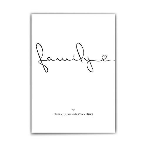Personalisierte Poster Familie – Family - Herz - Familien Namen personalisiert - persönliches Geschenk für die Familie - personalisierte geschenke familie - ohne Rahmen