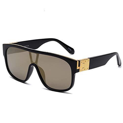 Europeo y americano ins hombres conducción marco grande moda gafas de sol sol cara redonda a prueba de viento gafas de sol mujeres-negro marco té oro tramposo