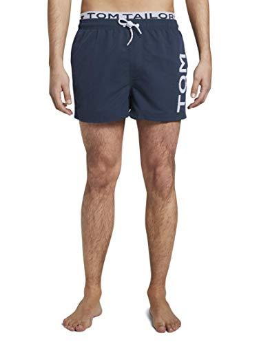 TOM TAILOR Herren Nightwear Badeshorts mit unterlegtem Bund Dress Blue,L,P608,6000