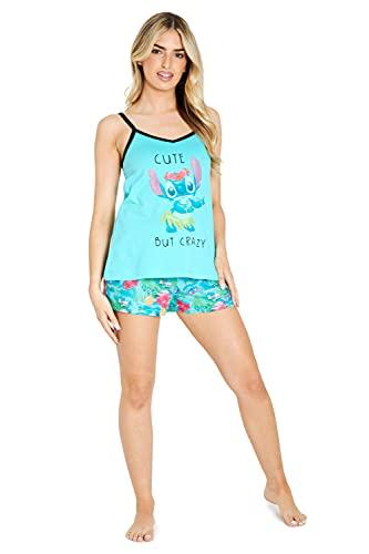 Disney Pijamas Mujer Verano Stitch, Conjunto 2 Piezas Camiseta Tirantes y Shorts de Algodón, Regalos para Mujer Tallas S, M, L y XL (Azul, M)