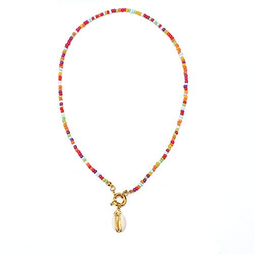 SAVITA Gargantilla de Perlas Collares de Conchas Pequeños Collares de Cuentas Collar de Cuentas de Colores Hechos a Mano Gargantilla de Cuentas de Verano para Mujeres