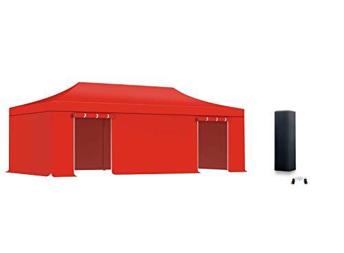 ACTIEXPRESS Pack Tente Pliante, Barnum Pliant, Tonnelle 4x8m Aluminium 40mm Bâche 300g/m² + Bâches d'entourage (Rouge)