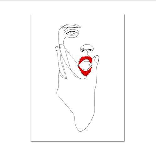 waitingposter - vrouw gezicht tekenen rode lippenstift gezicht schetsen abstract mode schilderen enkele regel minimale wandafbeeldingen voor de woonkamer, C - 20 x 28 inch (50 x 70 cm)