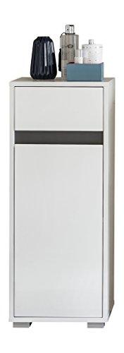 trendteam smart living Badezimmer Schrank Kommode Sol, 35 x 89 x 31 cm in Korpus Weiß, Front Weiß Hochglanz mit Schubkasten und viel Stauraum