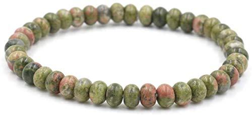 Pulsera de Piedra Mujer, 7 Chakra Piedra Natural Beads Flower Greenstone Elástico Brazalete Mujer Joyería Yoga Energía Reiki Orar Charm Diffuser Regalo para MOM & AMP; Novia