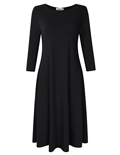"""FEATURES - Pullover,Short Sleeve,3/4 Sleeve,Plus Size,Pocket,Casual,Swing,Midi Dress. SEASON - Fit for Spring,Summer,and Fall.This Dress is A-Line Loose Swing T Shirt Dress Style. ATTENTION - Our Brand is """"MISSKY"""",ONLY Authorization Seller is """" TomYs..."""