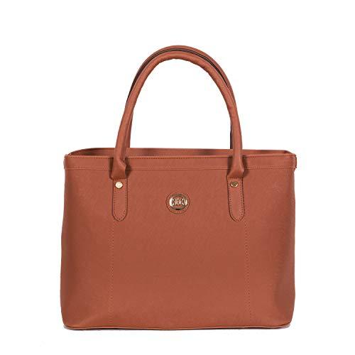 Henkeltasche Damen als modische Tote-Bag   Handtasche elegant als Schultertasche   Große Damen-Handtasche vegan mit viel Platz   Handtasche A4 schwarz cognac taupe rot blau von Gio&Mi (Cognac)