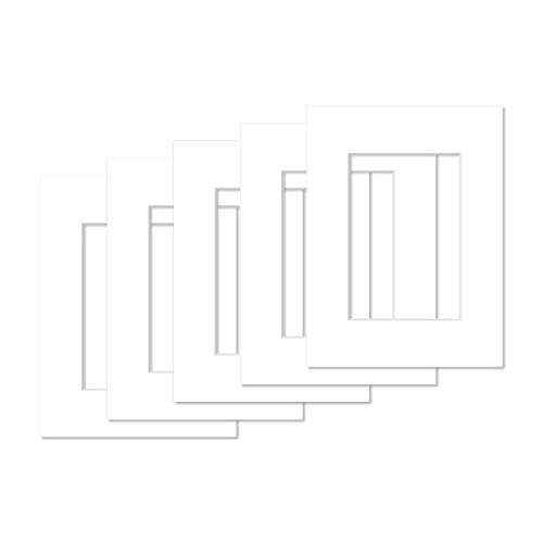 AlphaUVplus - 5 Stück - Passepartouts in Museumsqualität - Reinweiß - Außengröße: 30x40cm / für Foto: 20x30cm