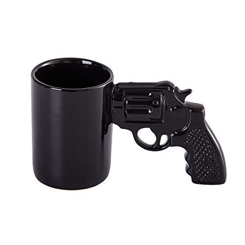 Doinbtoy Mode Kreative Revolver Keramik Tasse Milch Kaffeetasse 301-400ml schwarz