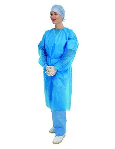 Premier, 5525, camice per operatori sanitari, a maniche lunghe, usa e getta, blu, confezione da 10