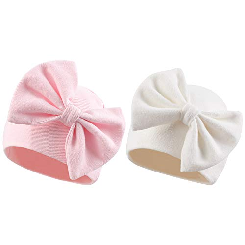 Newborn Baby Girl Hat Cotton Baby Bow Beanie Spring Infant Hats for Girls 0-6Months (White+Pink, 0-6 Months)