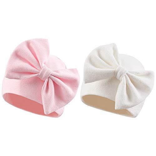 Sombrero de bebé recién nacido de algodón con lazo, para bebés de 0 a 6 meses, Blanco y rosa, 0-6 Meses