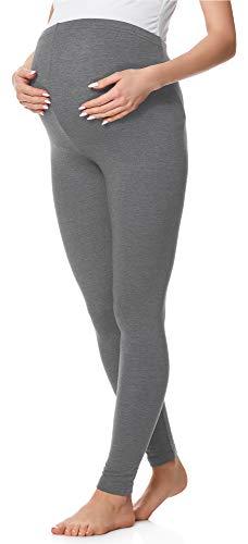 Be Mammy Lange Umstandsleggings aus Baumwolle BE20-230 (Mittel Melange, XL)