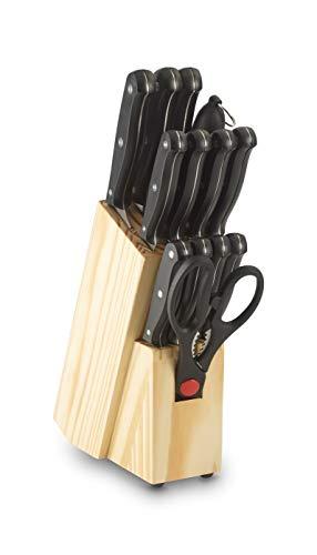 Echtwerk EW-SM-0199B Basic Küchenmesser Set 14tlg, Klingenstahl, Griff schwarz