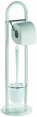 kela 20975 - Set per Toilette Linda, con Porta Rotolo di Carta igienica, Altezza: 65 cm, Colore: Bianco