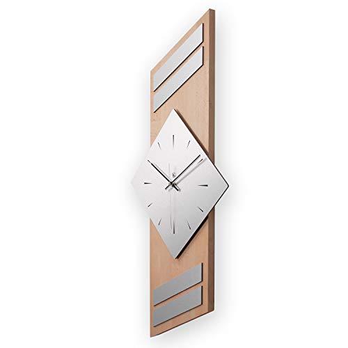 Kreative Feder Moderne Designer Holz Alu Funk Wanduhr leise Funkuhr ohne Ticken 75x30cm WEH005B-FL (Buche, leises Funkuhrwerk)