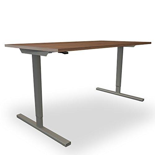 Elektrisch höhenverstellbar Schreibtisch EASY Ergonomisch Motortisch LINAK, Gestellfarbe:Silber, Melamin-Farbe:Nussbaum, Größe:1800 x 800. H=740 mm