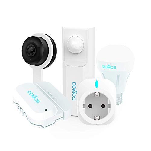 DOMOS Kit completo di sicurezza domestica intelligente DOMOS. Include sensore di apertura, presa intelligente, sensore di movimento, telecamera IP e lampadina intelligente RGB. 100% WIFI