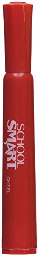 School Smart Permanent Markers - Chisel Tip - Pack of 12 - Red