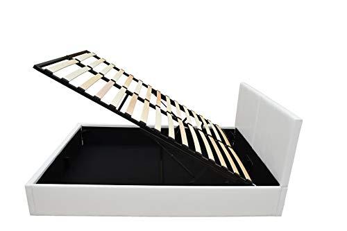 Bett – 140×190 – weiß – Bettgestell mit Aufbewahrung – Bettkasten Inhalt 798 Liter – Material A++ Qualität Lederoptik – Funktionsbett – Stahlrahmen mit Holz – Lattenrost - 3