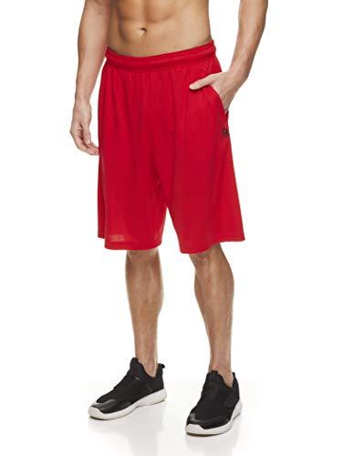 Reebok Men's Mesh Basketball Gym & Running Shorts w/Elastic Drawstring Waistband & Pockets - Bank Double Shot Racing Red, Medium