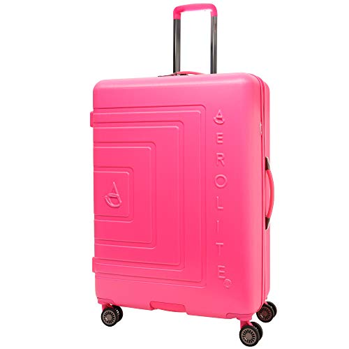 "Aerolite Large 29"" Lightweight ABS Hard Shell 8 Wheel Hold Check in Luggage Suitcase, Bubblegum Pink"