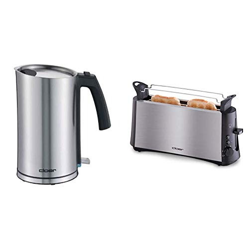 """Cloer 4909 Cool-Wall-Wasserkocher / 2000 W / 1,2 Liter & 3810 Langschlitztoaster, 880 W für 2 Toastscheiben mit \""""Graubrot-Funktion\"""" zum Toasten von verschiedenen Brotsorten"""