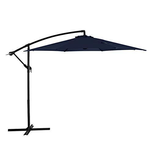 Augecho Patio Offset Umbrella 10ft Cantilever Umbrella Market Outdoor Hanging Umbrellas with Crank & Cross Base (Navy)