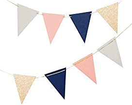 Fonder Mols Triangle Pennant Garland Tribe Party Banner for Bridal Shower Party Decorations, Boy or Girl Baby Shower Decor, Photo Booth Props (Navy Blue Peach Rose Gold,10 feet, Large)
