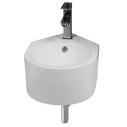 NEG Waschbecken Uno42H (rund/Eckmontage) Hänge-Waschschale (weiß) mit Nano-Beschichtung
