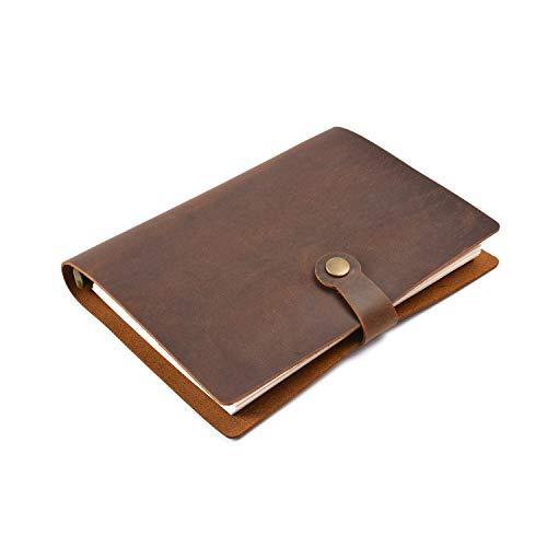 Fanuse Anillos de Cuero Genuino Cuaderno A5 Planificador con Carpeta de LatóN Cuaderno de Bocetos en Espiral BotóN a PresióN PapeleríA de Diario Personal