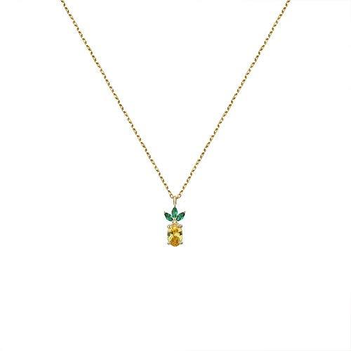 YAZILIND Mini Collar de piña para Las Mujeres 925 Plata esterlina Elemento Lindo de la Fruta de Oro Colgante Collares joyería para Las Mujeres Regalo