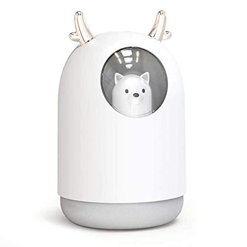 Toestellen USB luchtbevochtiger, 300ml schattig huisdier koeler mist Aroma olie diffuser lucht Romantic kleur LED-lamp luchtbevochtiger,White